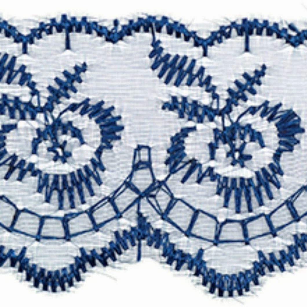 Navy Blue Coloured Vintage Scalloped Edge Lace Trimming Edging 45mm Width