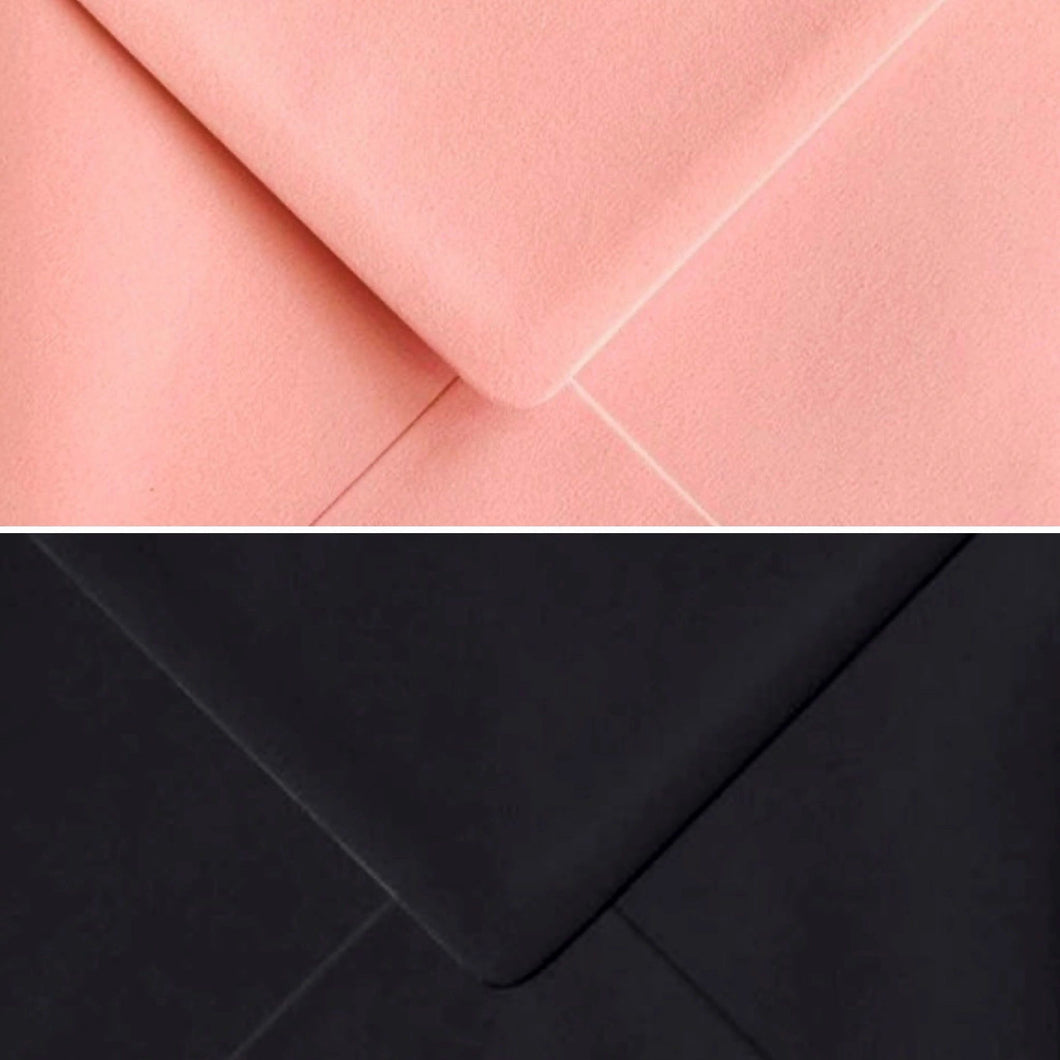 6x6 Candyfloss Pink and Black Envelopes Square Gummed 100gsm - Mixed Pack