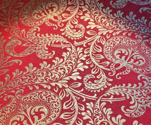 Load image into Gallery viewer, Red and Gold Luxury Splendour Decorative Handmade Gift Wrapping Paper 700mm x 500mm Sheets