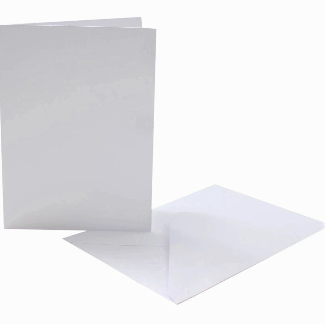 A6 White Cards and C6 Envelopes - Creased Card Blanks 300gsm