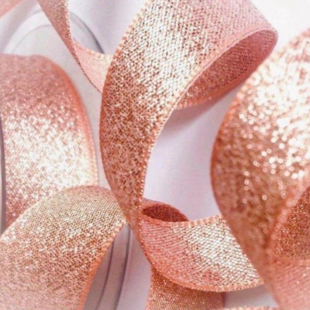 Lamé Luxury Shimmer Rose Gold Ribbon 40mm Width