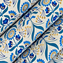 Load image into Gallery viewer, Beige and Blue Luxury Floral Recycled Gift Wrapping Paper 700mm x 500mm Arts and Crafts