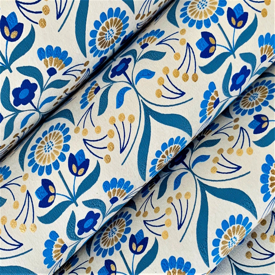 Beige and Blue Luxury Floral Recycled Gift Wrapping Paper 700mm x 500mm Arts and Crafts