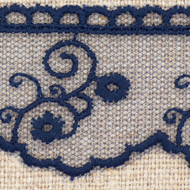 Navy Blue Vintage Tulle Lace Trimming Edging 30mm Width
