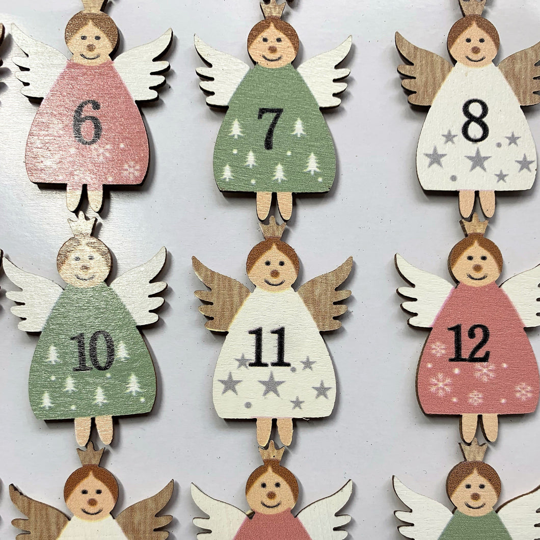 Fairy Advent Numbers Christmas Countdown Festive Arts and Crafts DIY Self Adhesive Wooden Style Stars and Trees