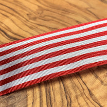 Load image into Gallery viewer, Red and White Pencil Stripe Ribbon 25mm Width