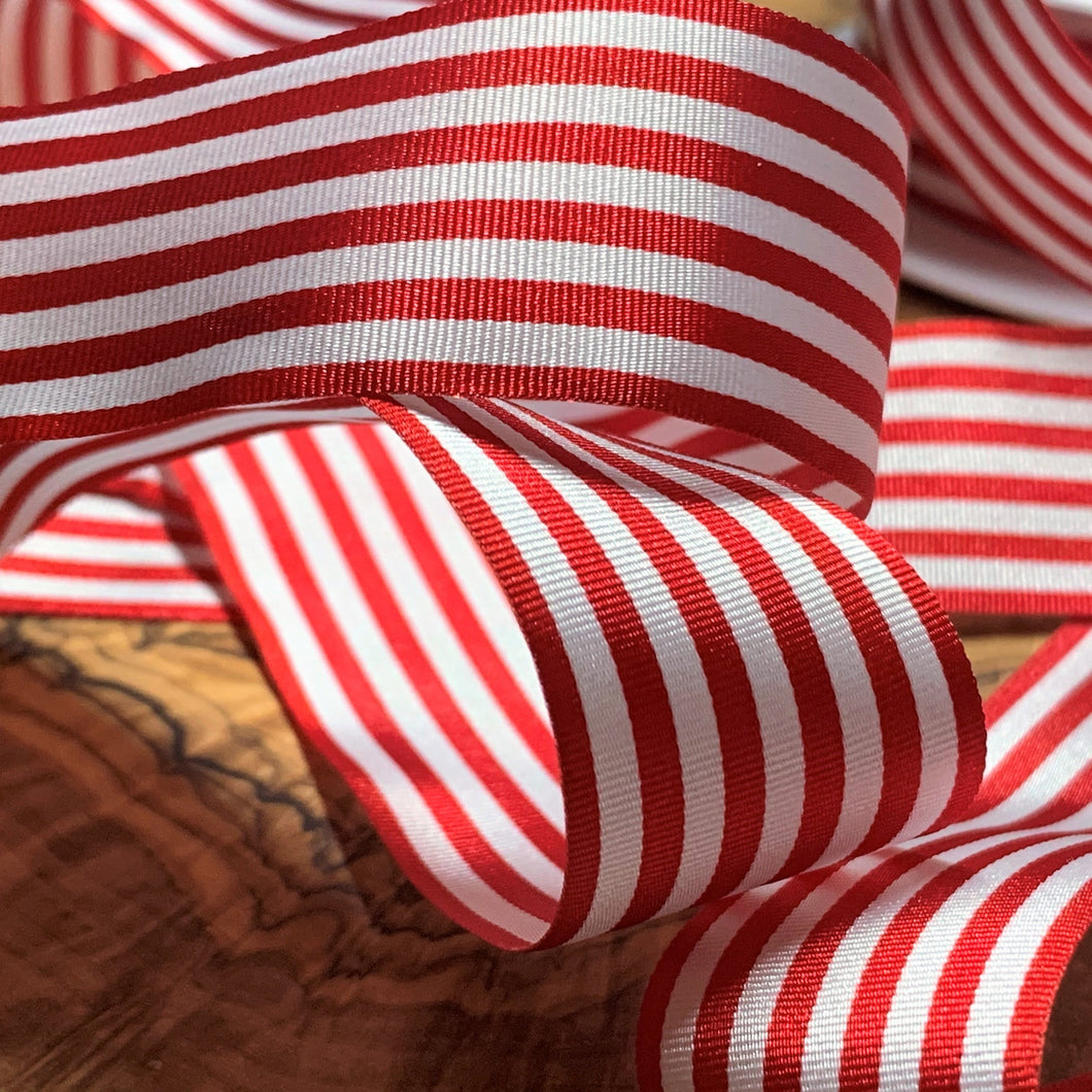 Red and White Pencil Stripe Ribbon 25mm Width