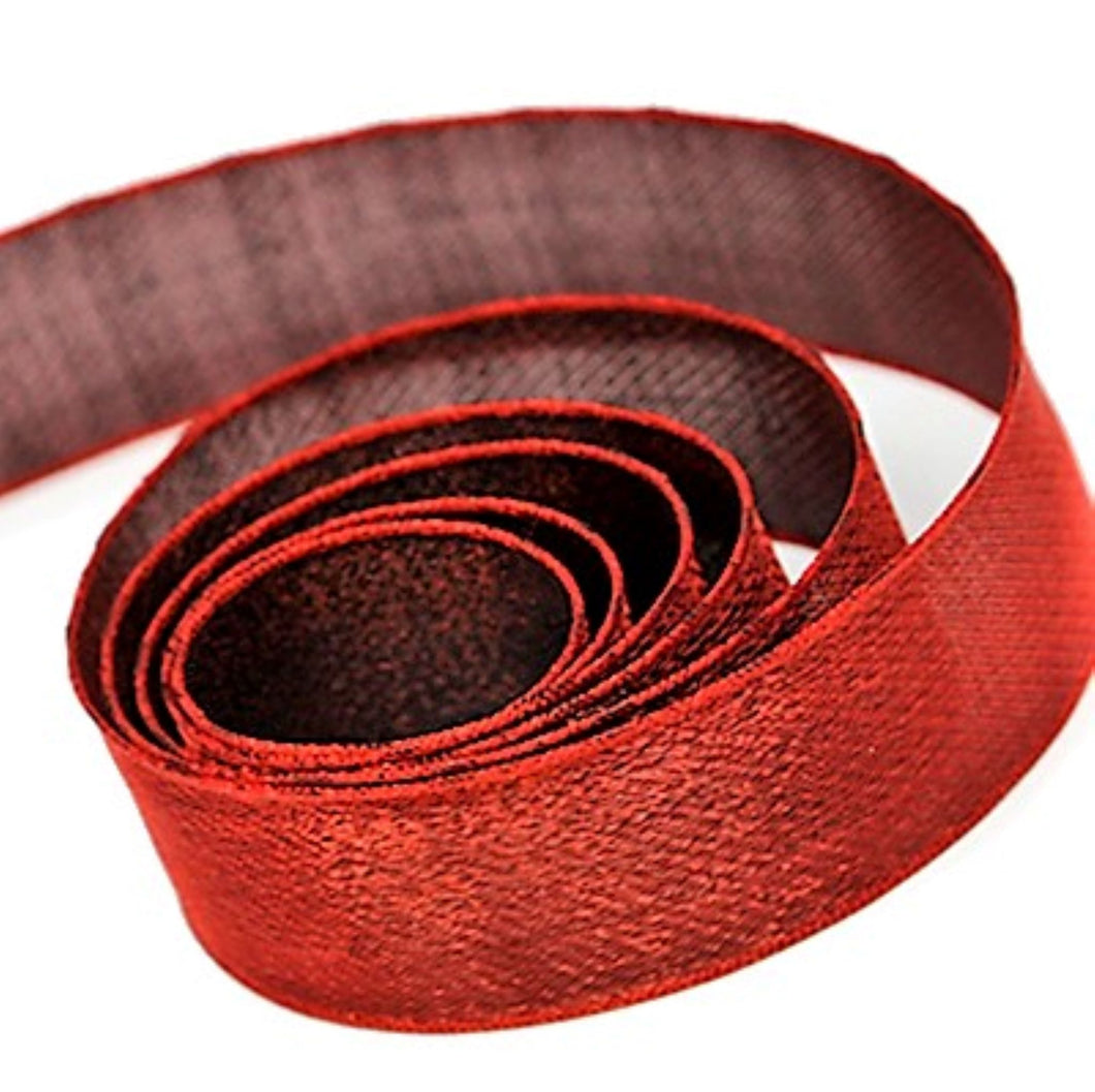 Monofilament Edge Two Tone Red Combination Chiffon Ribbon 38mm