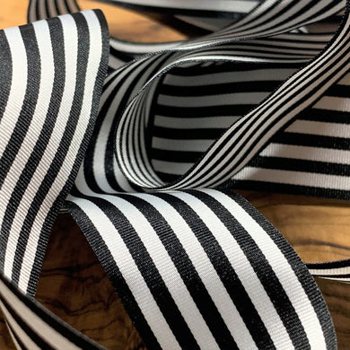 Black and White Pencil Stripe Ribbon 25mm Width
