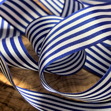 Load image into Gallery viewer, Royal Blue and White Pencil Stripe Ribbon 25mm Width