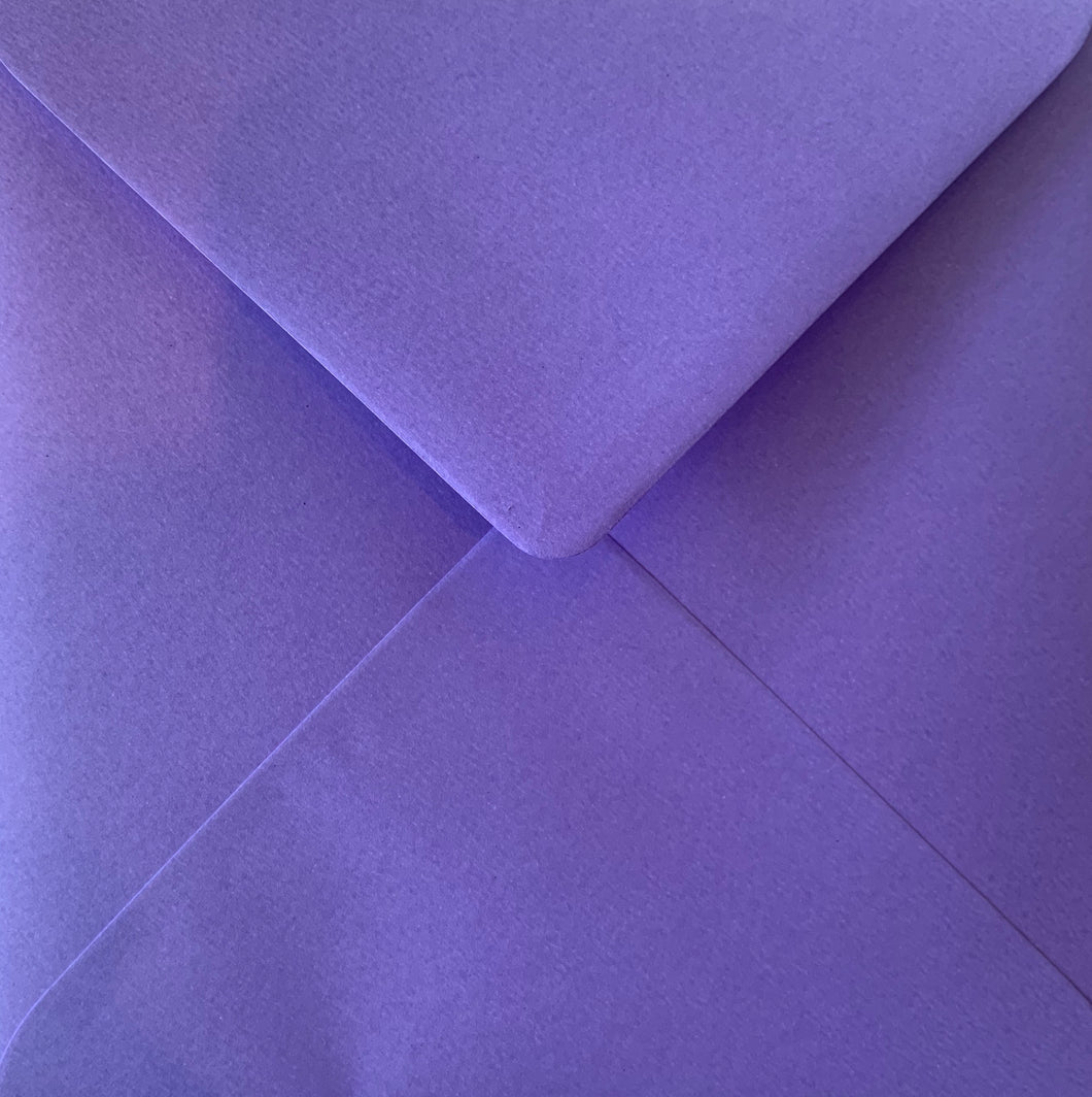 6x6 Purple Coloured Square Envelopes Gummed Diamond Flap 100gsm