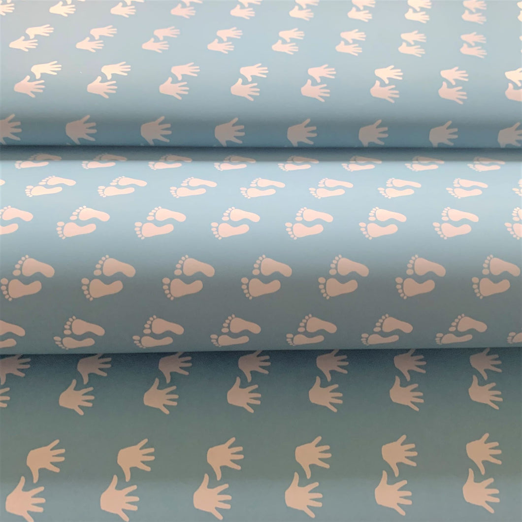 Reversible Baby Boy Feet and Hands Blue Gift Wrapping Paper 700mm x 500mm