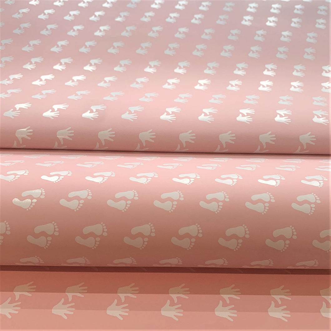 Reversible Baby Girl Feet and Hands Pink Gift Wrapping Paper 700mm x 500mm