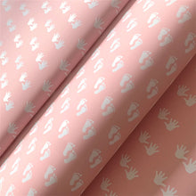 Load image into Gallery viewer, Reversible Baby Girl Feet and Hands Pink Gift Wrapping Paper 700mm x 500mm