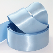Load image into Gallery viewer, Recycled Ice Blue Ribbon Double Sided Woven Edge Polyester 25mm width