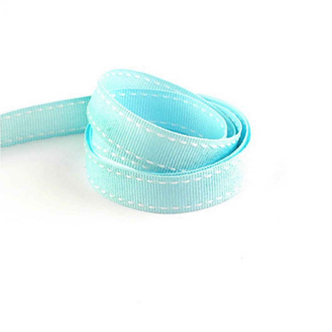 Baby Blue and White Grosgrain Stitched Edge Ribbon 16mm Width