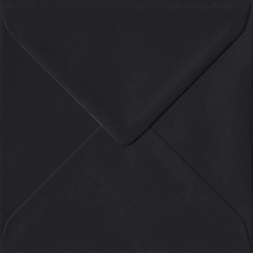 6x6 Black Square Envelopes Gummed Diamond Flap 100gsm