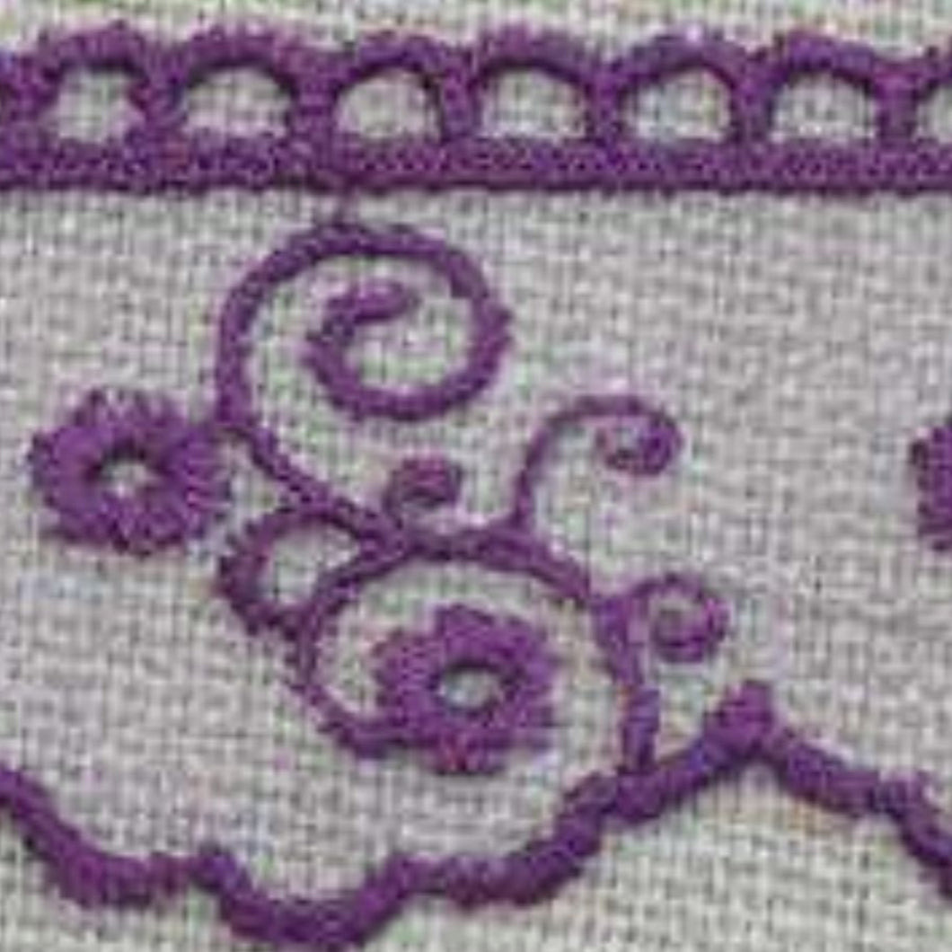 Aubergine Vintage Tulle Lace Trimming Edging 30mm Width