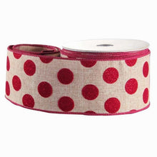 Load image into Gallery viewer, Wired Edge Red Glitter Polka Dot Burlap Celebration Ribbon 63mm Width