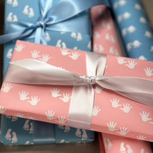 Load image into Gallery viewer, Reversible Baby Boy Feet and Hands Blue Gift Wrapping Paper 700mm x 500mm
