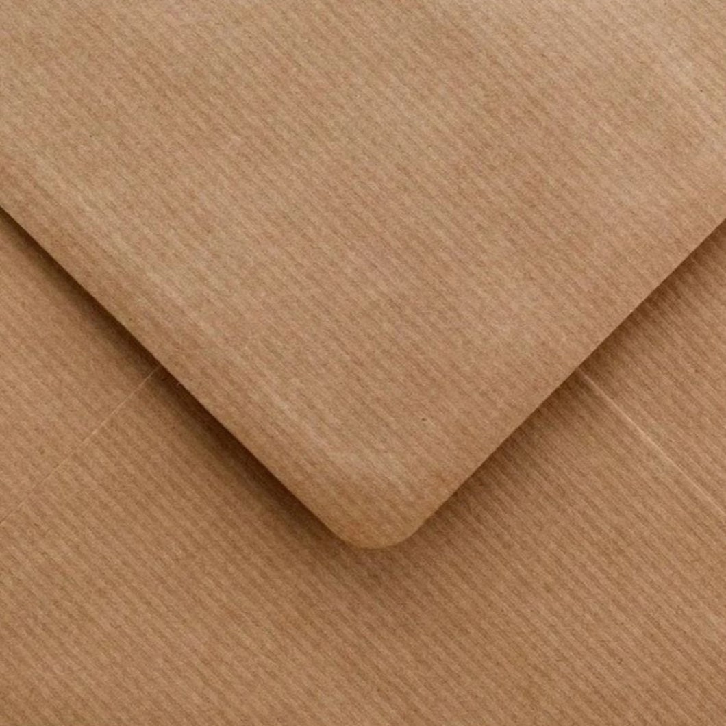 C6 Ribbed Kraft Envelopes Recycled Brown Gummed Diamond Flap 100gsm