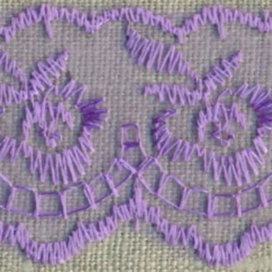 Lilac Coloured Vintage Scalloped Edge Lace Trimming Edging 45mm Width