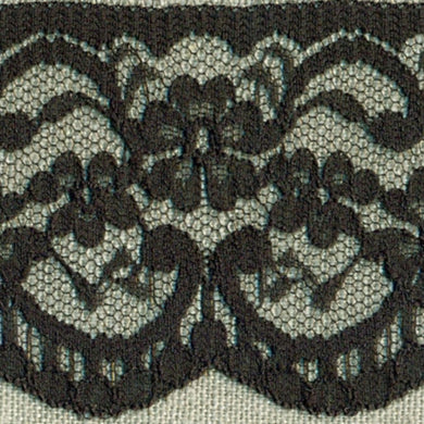 Black Vintage Scalloped Edge Lace Trimming Edging 63mm Width