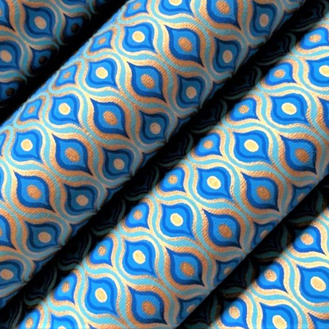 Blue and Gold Lotus Eye Print Recycled Gift Wrapping Paper 700mm x 500mm