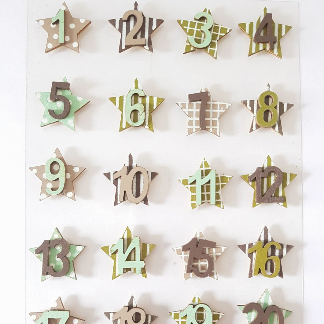 Advent Numbers Christmas Countdown Festive Arts and Crafts DIY Self Adhesive Stars Green and Brown
