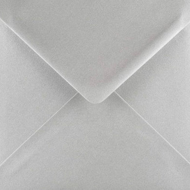 5x5 Metallic Silver Square Envelopes Gummed Diamond Flap 100gsm