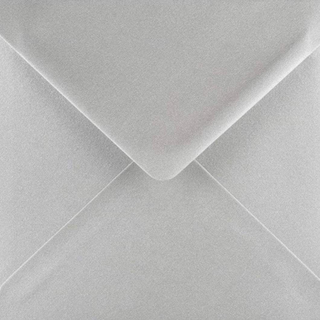 6x6 Metallic Silver Square Envelopes Gummed Diamond Flap 100gsm