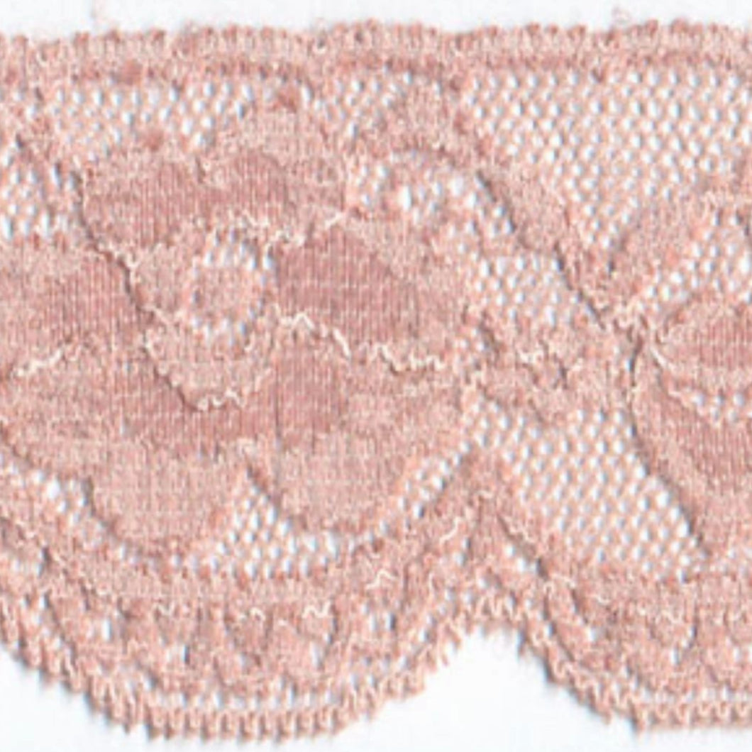 Dusky Pink Vintage Scalloped Edge Stretch Lace Trimming Edging 58mm Width