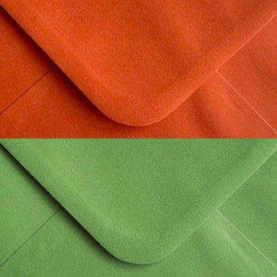 5x7 Olive Green & Burnt Orange Envelopes Gummed 100gsm- Mixed Pack