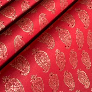 Red and Gold Luxury Paisley Recycled Gift Wrap Paper 700mm x 500mm