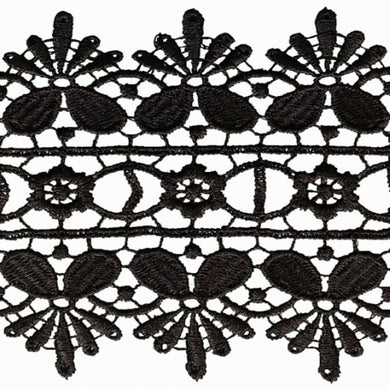 Black Lace Trimming Edging 85mm Guipure Vintage Heavyweight