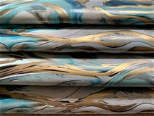 Load image into Gallery viewer, Aqua and Gold Marble Decorative Gift Wrapping Paper 700mm x 500mm Sheets