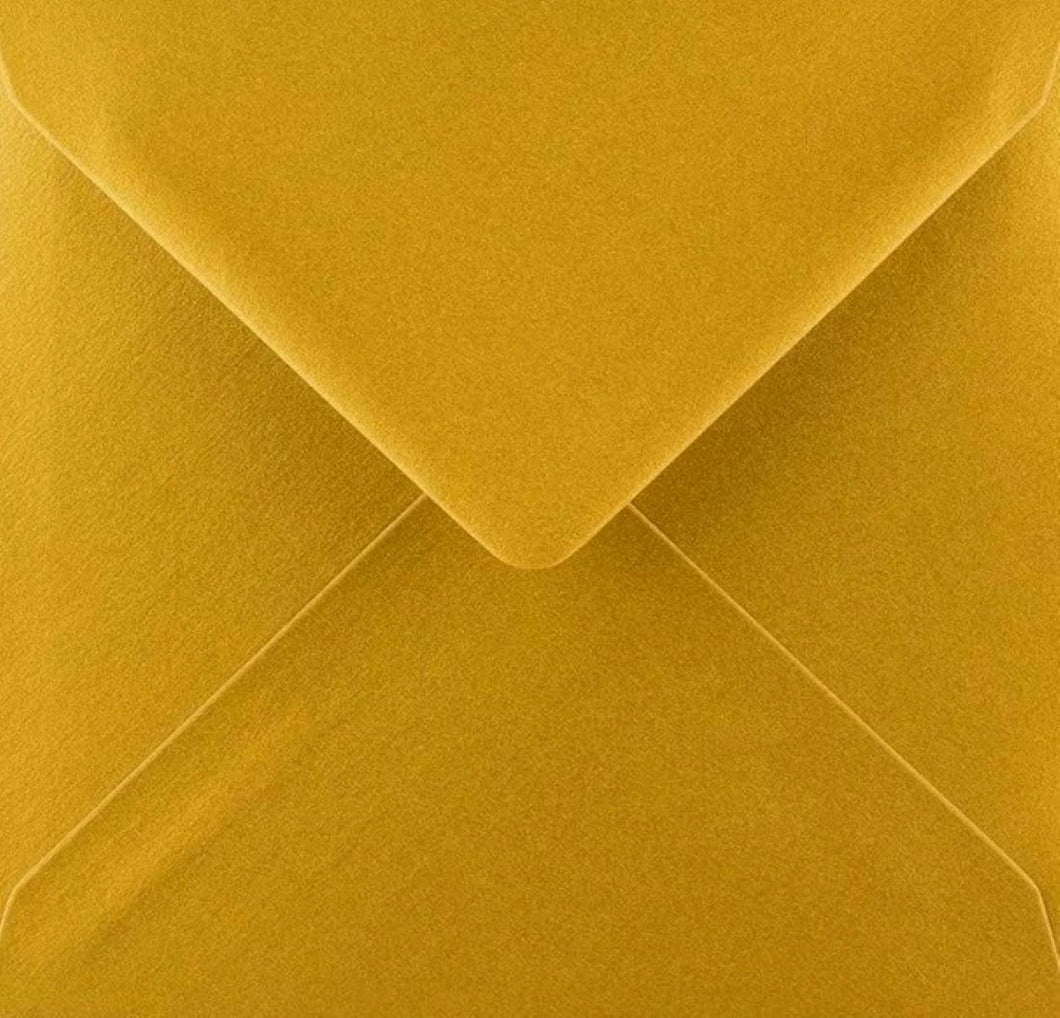 6x6 Metallic Gold Square Envelopes Gummed Diamond Flap 100gsm
