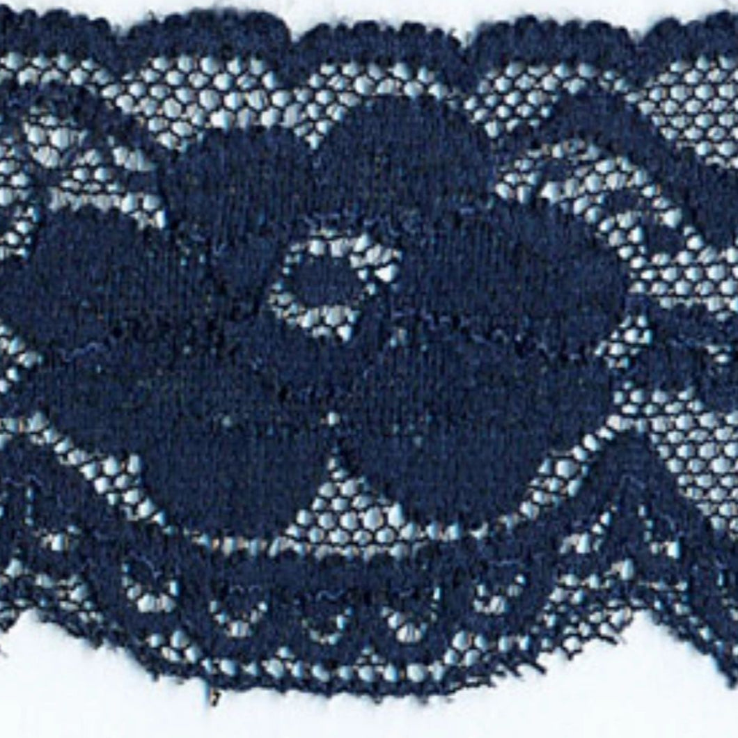 Navy Blue Vintage Scalloped Edge Stretch Lace Trimming Edging 58mm Width