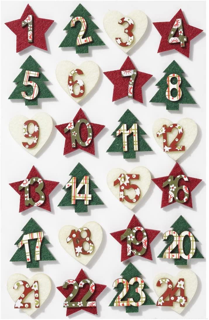 Advent Numbers Christmas Countdown Festive Arts and Crafts DIY Self Adhesive Felt Hearts Stars and Trees