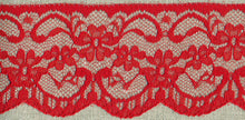 Load image into Gallery viewer, Red Vintage Scalloped Edge Lace Trimming Edging 63mm Width