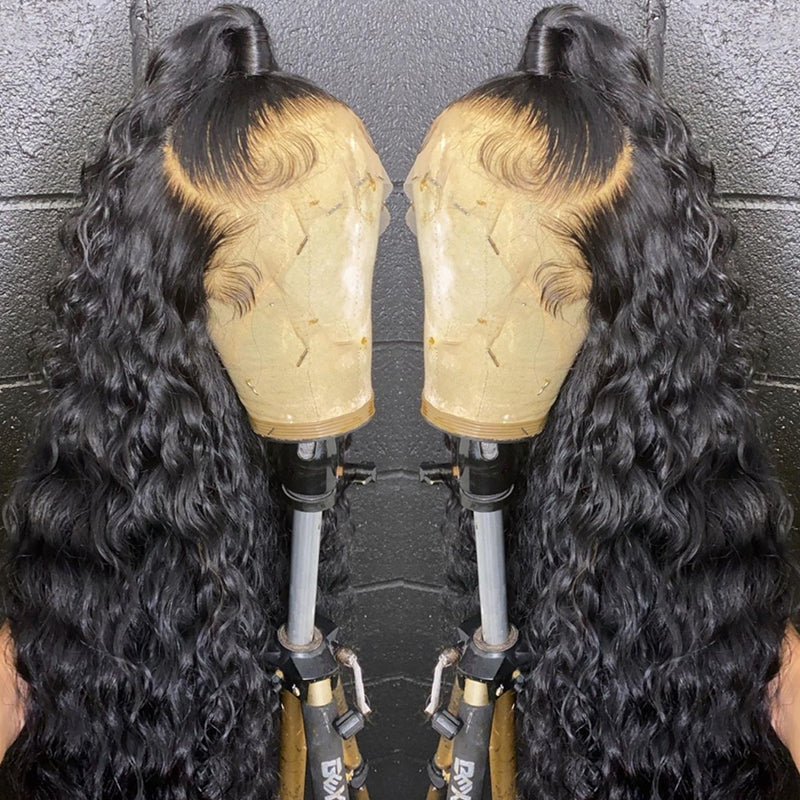 Deep Curly Wave Glueless 360 Lace Wig Pre Plucked High Quality 180% Density