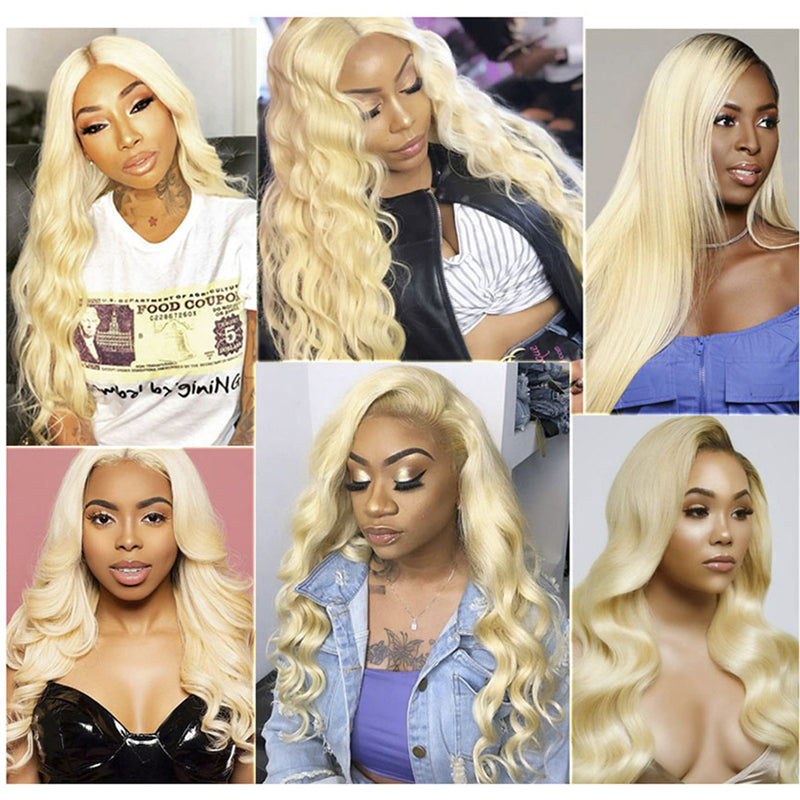 High Density Pre Plucked Body Wave 613 Blonde Lace Frontal Wig