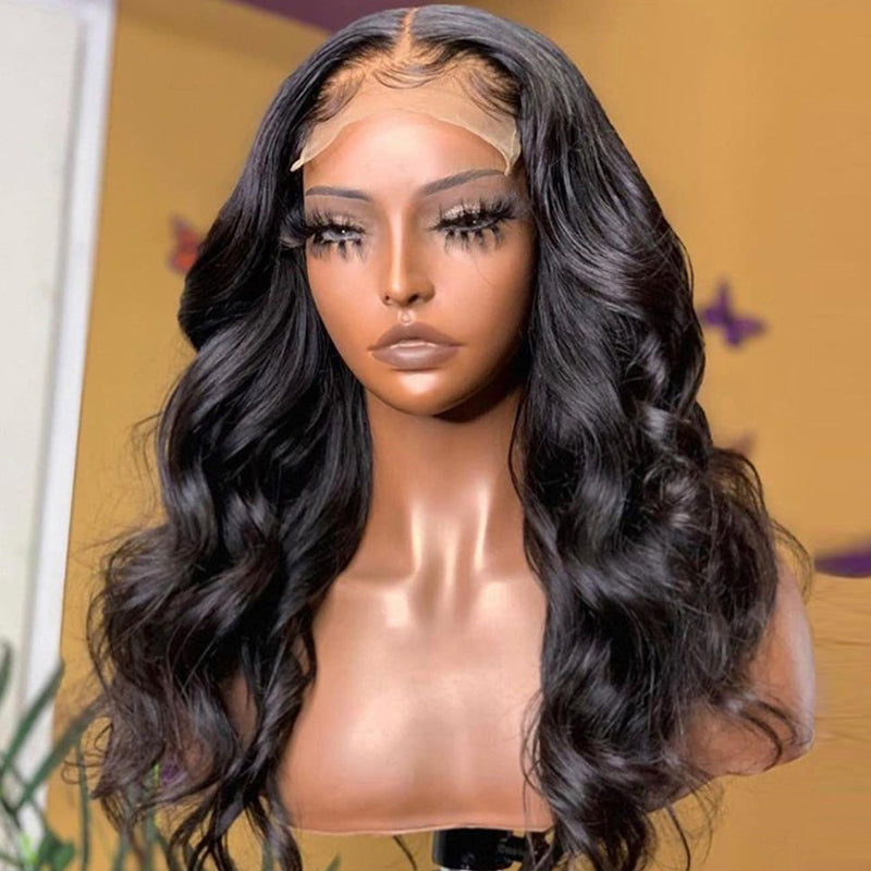 Pre Plucked Body Wave Closure Wig Affordable 180% Density Full End