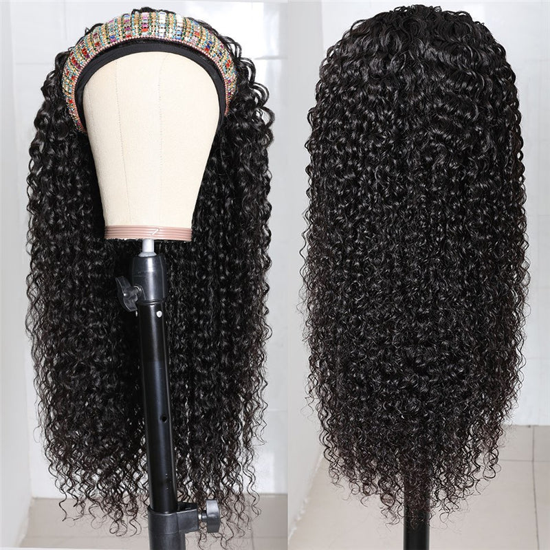 Affordable Kinky Curly Wave Headband Wig Soft Bouncy High Quality
