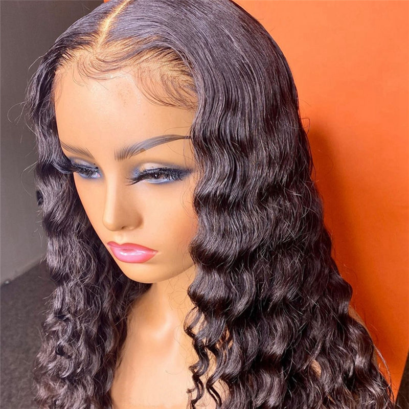Affordable Deep Wave Lace Closure Wig 100% Human Hair High Density