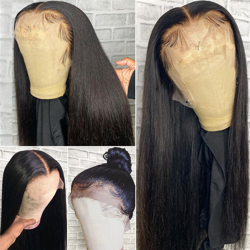 Pre Plucked High Quality Human Hair Straight HD Full Lace Wig 180% Density