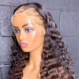 Deep Curly Wave Lace Front Wig Pre Plucked HD Transparent 180% Density