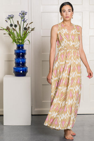 The Aster Dress Ikat Olive
