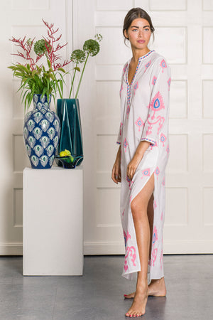 The Sapphire Kaftan Long Ornament Embroidery Pink