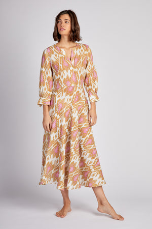 The Azurite Dress Ikat Olive